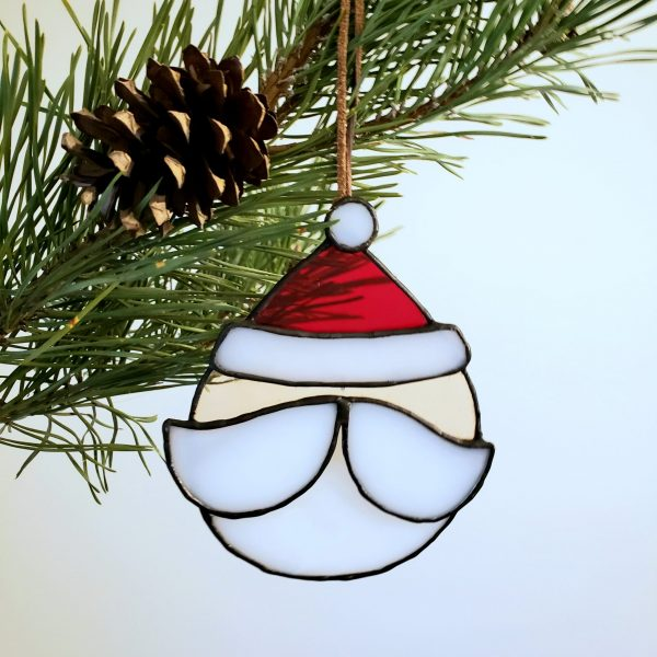 Stained Glass Santa Claus Ornament