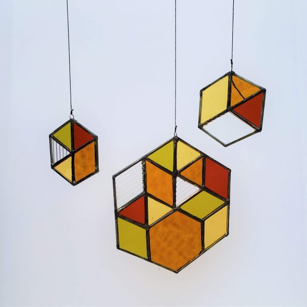 brightly colored stained glass hexagon suncatcher set