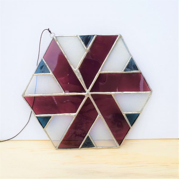 Blue, white, and purple hexagon stained glass suncatcher