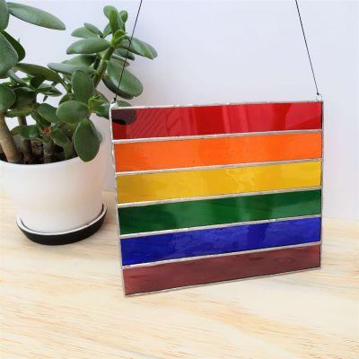 Large Pride Flag Stained Glass Sun Catcher