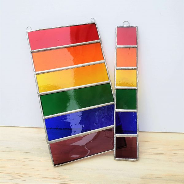 set of two rainbow gay pride suncatchers, one small and one large