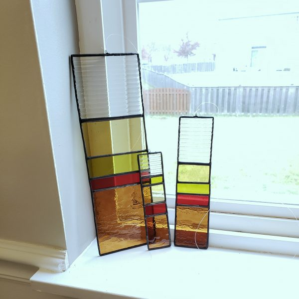 Set of three rectangular hanging stained glass suncatchers