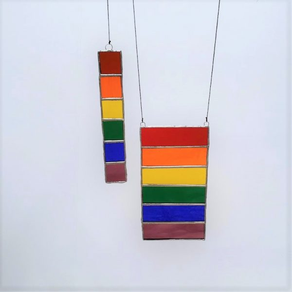set of two gay pride stained glass sun catchers