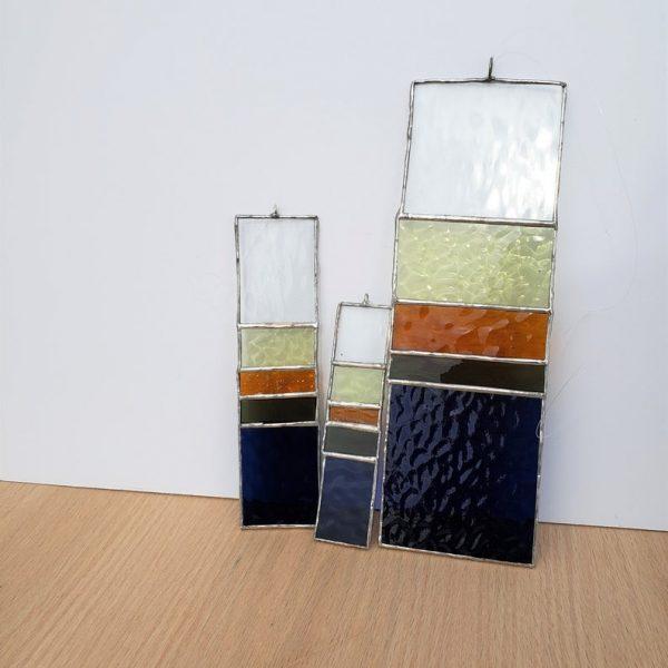 Set of three rectangular hanging stained glass suncatchers